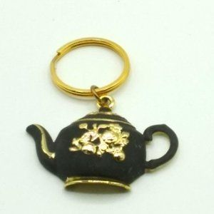 Large Black and Gold Floral Teapot Keychain